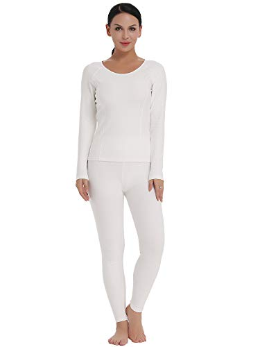 Amorbella Damen ultra weich thermo-unterwäsche set baumwolle lang johns base layer mit fleece-futter klein fleece-weiß -