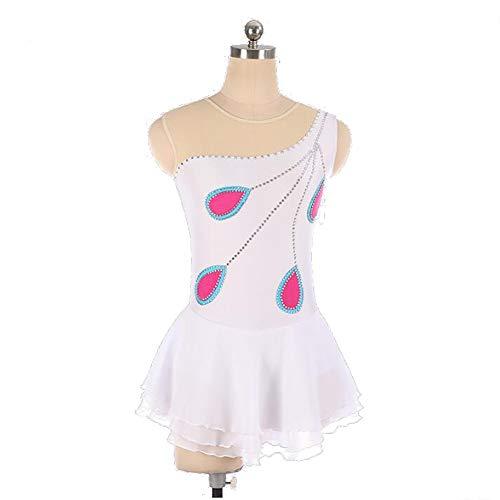 XIAOY Eiskunstlauf Kleid für Mädchen Frauen Handarbeit Wettbewerb Kostüm Eislaufen Kleider Kristalle Lange ärmel Weiß,White,Customized