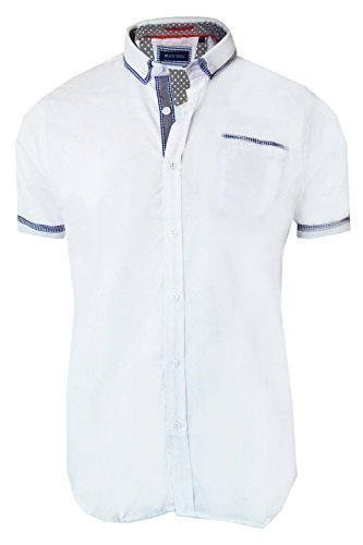 Brave Soul Colvin Kurzärmelig Retro Hemd Herren Kragen Gingham Trimm Freizeit Top Weiß