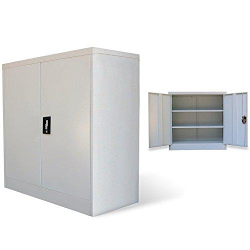 Vidaxl armadio 2 ante 90 cm mensole grigio acciaio schedario ufficio archivio