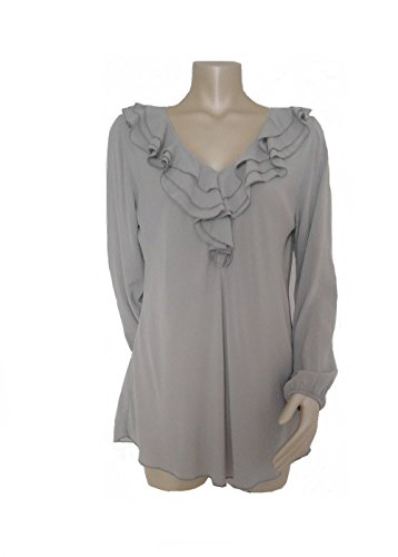 Damen Tunika Bluse mit Volantrüsche V-Ausschnitt Viskose-Bluse Schlamm