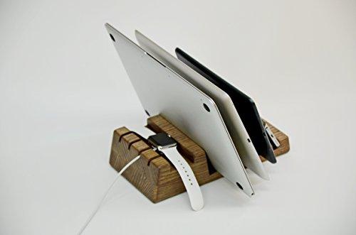Multiple Charging Station Organizer in Natural Oak Wood for 5 Devices. Oak Laptop Docking Station. Mobile Air Desk MacBook Stand Laptop Desk Laptop Cradle Mobile Air Desk MacBook Stand.