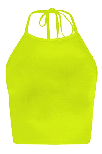 Quadrat Hals T-shirts Tops (The Celebrity Fashion® Damen-Neckholder-Top Druck Sonne Mond Stern, Schnur, Festival, bauchfreies Top, ärmellos, Tanktop, EU-Größe 36/38/40/42 Gr. Small/Medium, Neon Yellow Plain)