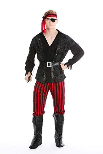 dressmeup Dress ME UP - M-0162 Kostüm Herren Männer Fasching Karneval Pirat Freibeuter Seeräuber Gr. S/M (Jack Stiefelstulpen Sparrow)