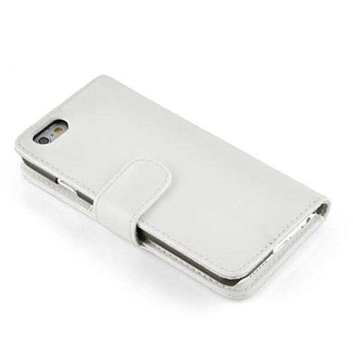 """iPhone 6 Plus Hülle, JAMMYLIZARD Ledertasche Flip Cover für iPhone 6 Plus und 6s Plus 5.5"""", KNALLROSA WEIß"""