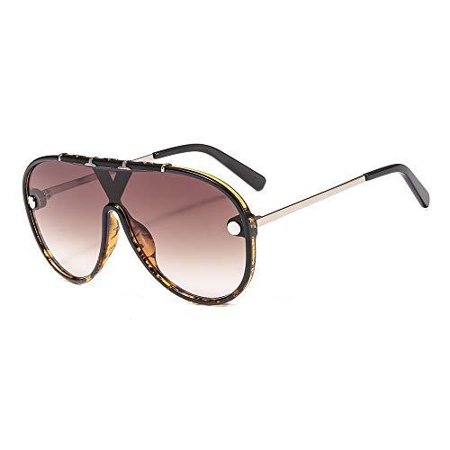 Sonnenbrille Mode Persönlichkeit Muster Stück Stück Brille Großen Rahmen Brille für Frauen, Leopard Frame Progressive Tea
