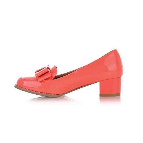AllhqFashion Damen Mittler Absatz Rein Ziehen Auf Rund Zehe Pumps Schuhe Orangerot
