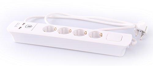 JL 4-Fach Steckdosenleiste mit Zwei USB Ladebuchsen (2100mA), Überspannungsschutz, Schalter und Kinderschutz, TÜV Sicherheit geprüft mit GS Siegel