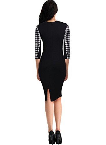 Miusol Damen Kleid Mit 3/4-Arm Hahnentritt Muster mit Reissverschluss vorne?Business Abendkleider Schwarz EU 38/M - 2