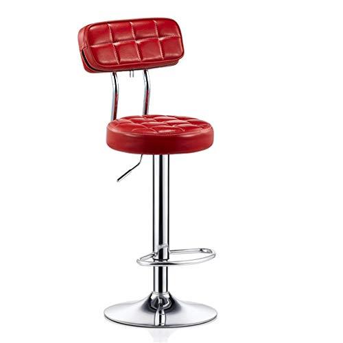 Möbel Hocker Barhocker Stuhl Fußstütze Runde PU Sitzlehne Verstellbare Swivel Gas Lift, Höhe 60-80cm für Küche Frühstück Barhocker Verchromte Platte Basis max. Laden Sie 150 kg (Farbe : Red)
