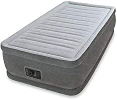 Intex Dura Beam Comfort Plush Elevated Air Bed Single 64412 With Built-in Electric Pump (Grey)