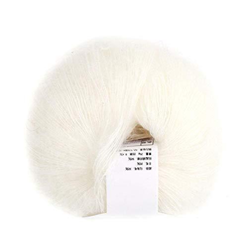 Heepdd 26g / roll gomitoli mohair, filato per maglieria lungo in lana con un uncinetto per gli indumenti sciarpe maglione scialle cappelli e progetti artigianali(bianca)