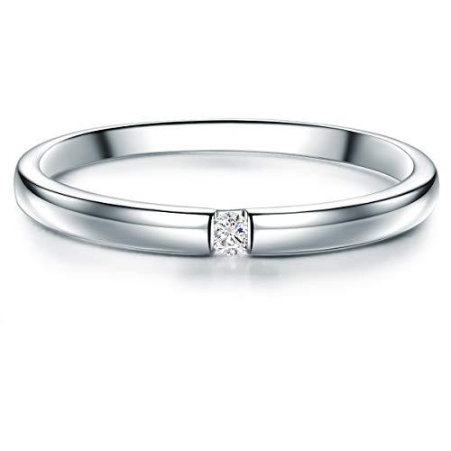 ng Verlobungsring Sterling Silber 925 mit Topas Solitär-Ring - Ehe-Ring mit Edelstein Spann-Ring für Frauen ()