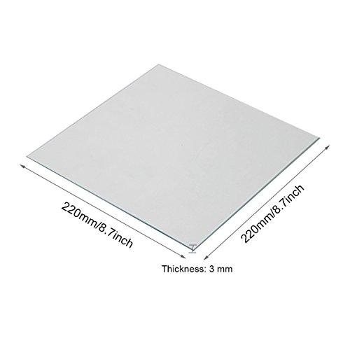 Wisamic klar Borosilikat Glas Heizbett 220 x 220 x 3 mm für 3D Drucker MK2/MK2 A, Ultimaker 2 +, RepRap, Mendel