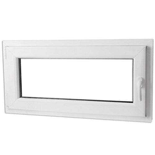 Festnight 3-in-1 PVC Fenster Drehkippfenster Kellerfenster mit Dreifach Verglast, Rechtsseitig Griff 800x400mm