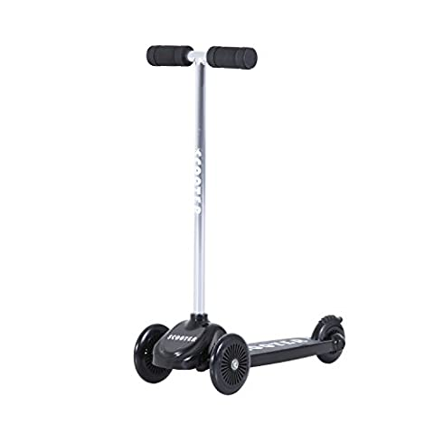 HOMCOM Childrens Mini Scooter Kick Push Tri-Scooter Board Kids Girl Boy Game Play Aluminum T-Bar Tilt and Turn w/ 3 Wheels (Black)