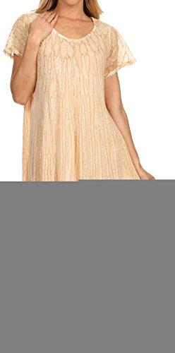 Sakkas 14802 - Faye Cap Ärmel Viskose Caftan Cover up Kleid - Natürlich - OS (Batik Krepp)