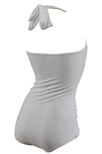 Aloha-Beachwear Vintage Look Retro Style Damen Neckholder Badeanzug A3024, Weiss Weiß