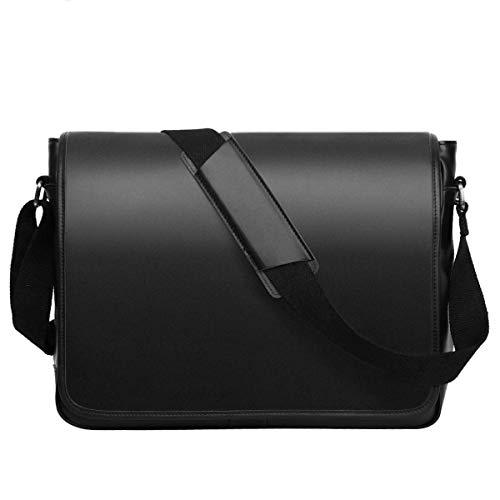 Leathario Borsa a Tracolla in Pelle da Uomo per Lavoro Messenger Bag a Spalla Retro Porta PC Laptop 14 inch per Universita' Nero