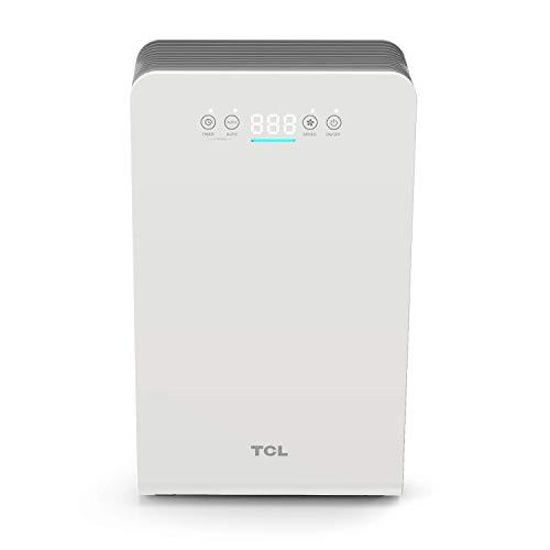 TCL Luftreiniger mit Smart LED Luftqualität Sensor echte HEPA Leiser Ionisator (220 m3 / h CARD) für Allergiker Geschenk für Familie [Energieklasse A+++]