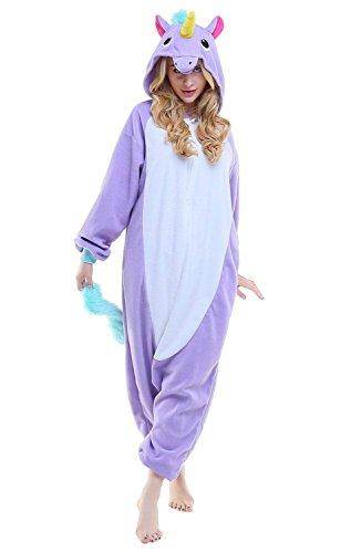 Mystery&Melody Süßes Einhorn Overalls Jumpsuits Pyjama Fleece Nachtwäsche Schlaflosigkeit Halloween Weihnachten Karneval Party Cosplay Kostüme für Unisex Kinder und Erwachsene (L, Lila)