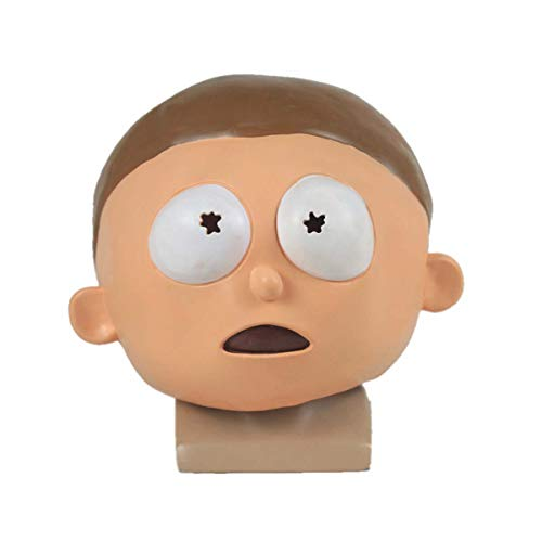 hcoser Rick y Morty Anime Máscara de Morty Casco Cosplay para Fiestas de Disfraces Carnaval Halloween látex para niños o Adultos