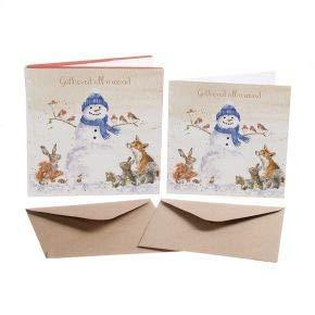 gesammelt rundum - Weihnachtskarte Box Set - 8 Luxus Gold Folien Karten & Umschlag - Wrendale Designs