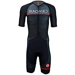 Sundried Mens Pro trifonction Manches Courtes Triathlon Ironman Plus Proche pour Le Racing Tri Suit (Noir, M)