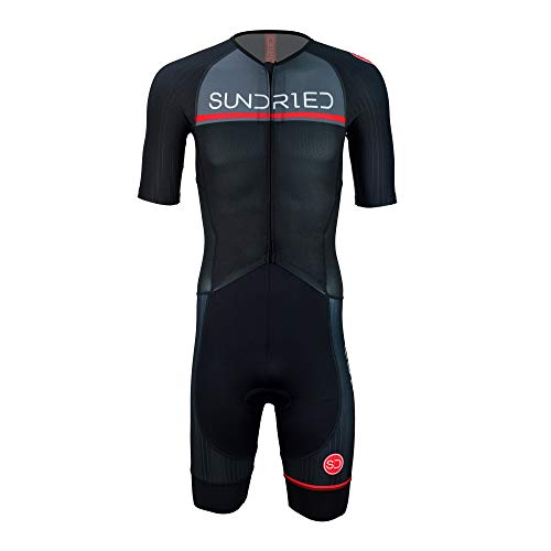 Sundried Mens Pro Trisuit Short Sleeve Triathlonanzug am besten für Ironman Rennen Tri Suit (Schwarz, L)