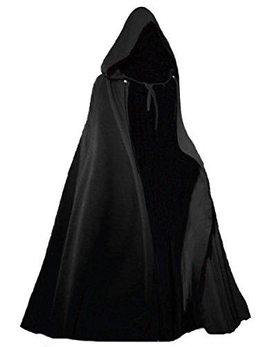 Gothic Scary Kostüm - Dark Dreams Gothic Mittelalter LARP Langer Kapuzenumhang Cape Unisex Sinistra, Farbe:schwarz, Größe:freesize