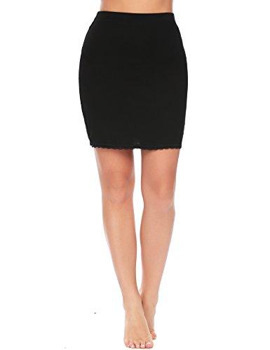 ADOME Damen Rock Unterrock Lingerie Halbrock Unterkleid Einfarbig Vintage Elastische Underskirt Schwarz L