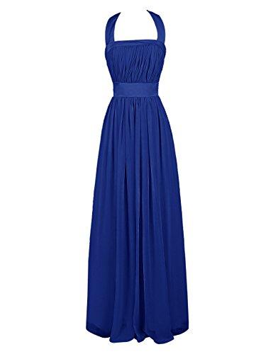 Dresstells, A-ligne robe de mariage, robe mousseline de soirée, robe longue de demoiselle d'honneur dos nu Bleu Saphir