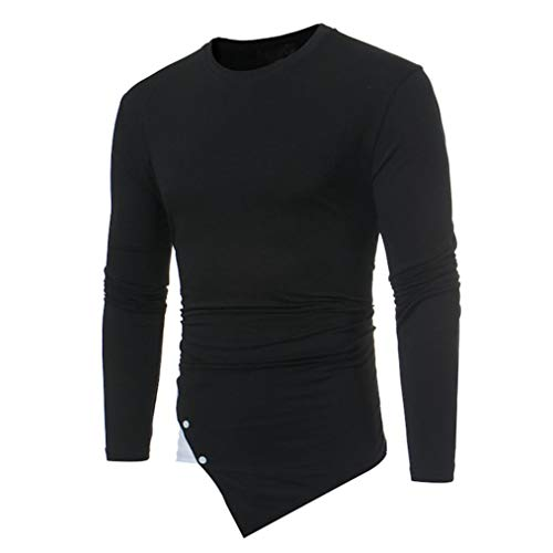 YunYoud Männer Casual Langarm O-Ansatz unregelmäßige Patchwork Shirt Top Bluse herren sporthemden herrenhemden baumwolle hemden tailliert geschnitten hemd kaufen weißes slim fit