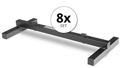 8er Set Showlite FLS-20 PAR Licht Bodenstative (2-fach Bodenstative zum Aufstellen von zwei Scheinwerfern, Grundfläche 55,5 x 25,5 cm, 6 cm hoch, stabile Konstruktion, ineinander stapelbar) Schwarz -