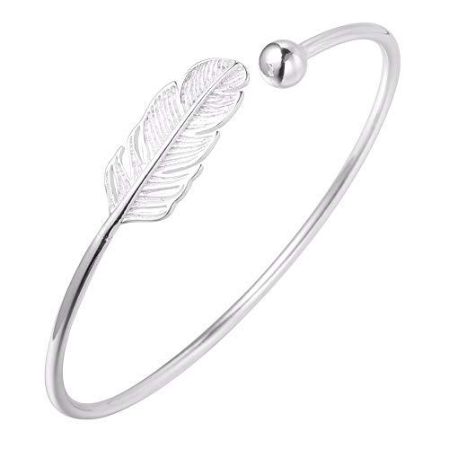 Bellissimo bracciale da donna/ragazza Infinity Boho con piuma, in argento Sterling 925