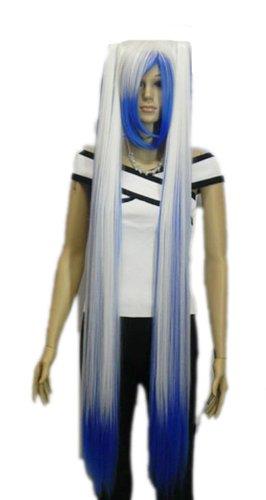 QIYUN.Z Haarteile Damen Perücken Blau Wei?Mix Gerade Lange Rapunzel Gewirr Haar Voller Anime Cosplay Kostüm (Haar Rapunzel Kostüm)