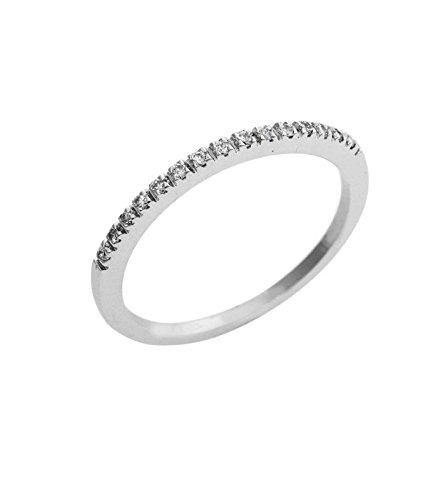 Anello fedina in oro bianco 18k con diamanti - 13