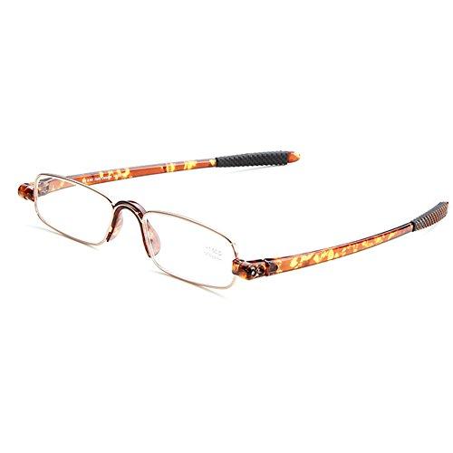 Zhuhaixmy Männer Frauen Rechteck Brillen 360 Rotierende Lesebrille Schildpatt Farbe Rahmen 1.0 1.5 2.0 2.5 3.0 3.5 4.0