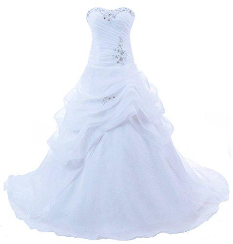 Vantexi Trägerlos Kristall Organza Brautkleid Hochzeitskleider Weiß Größe 52