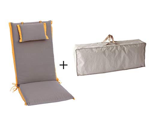 Hambiente 6er Pack Gartenstuhlauflage für Hochlehner ca. 120 x 50 cm Waschbar mit Reißverschluss...
