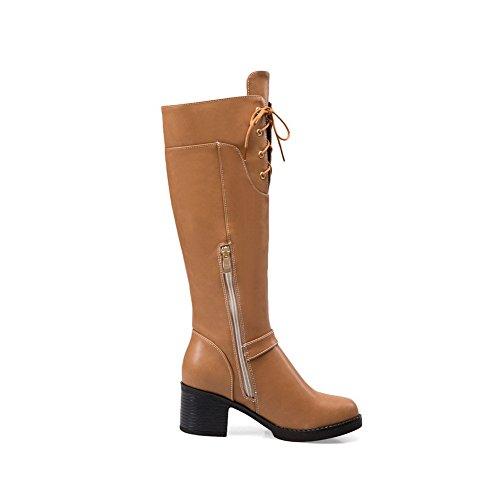 AgooLar Damen Mittler Absatz Rein Rund Zehe Ziehen auf Stiefel, Gelb, 36