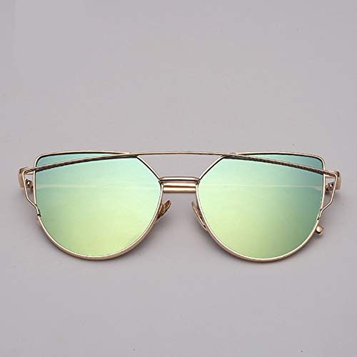 GAOHAITAO Designer Cat Eye Sunglasses Women Metal Reflective Glasses for Women Mirror,Gold Green