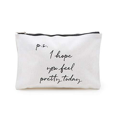 prettique Beauty Bag mit Reißverschluss und Spruch als Aufdruck, 21x15cm