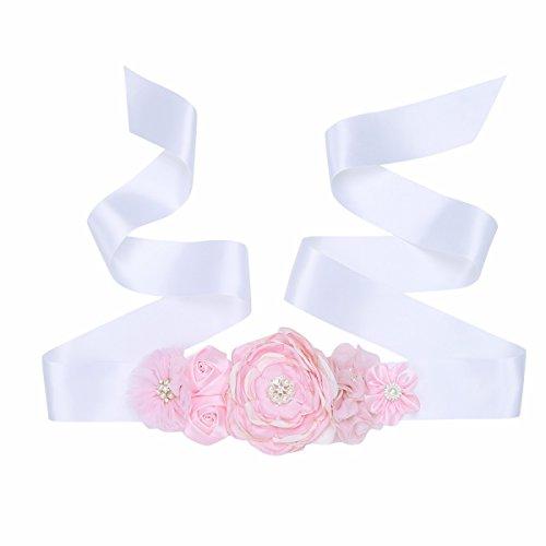 iiniim Damen Glitzer Kristall Strass Gürtel Satin Schärpe Brautgürtel für Hochzeit Festzug Brautkleid mit Satin Band Ivory Blume Einheitsgröße