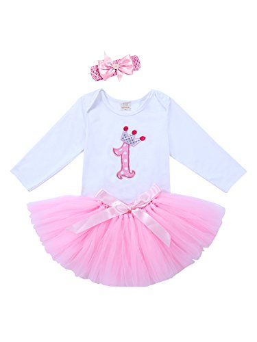 URBEAR 3pcs Baby Mädchen 1. Geburtstag Kleidung Body Strampler + Tüllrock + Haarband Rosa Rock Outfits, 12-24 Monate