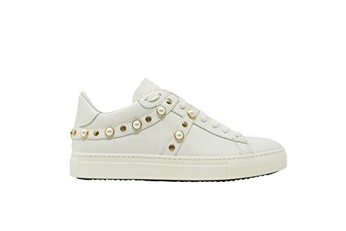 c4539c1e934d4 Stokton Sneakers 688-D Vitello Bianco Borchie Oro Bianco