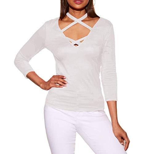 iYmitz DamenLässige V-Ausschnitt Tops LangarmKreuz T-Shirt T-Shirt(Weiß,L)