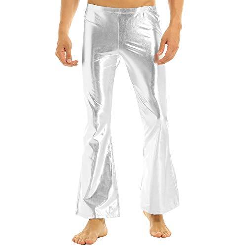 FEESHOW Herren Glänzend Leder Hose Metallic Schlaghose Jazzpants 70er 80er Jahre Hippie Tanz Kostüm Party Disco Clubwear Silber XL(Taille 90-118cm) (80er Jahre Tanz Kostüm Tragen)