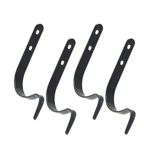 Toyvian J Typ Haken Metall Haken Aufhänger Eisen Wandhaken Metall Dekorative Hochleistungs Kleiderbügel (Schwarz) 6 STK