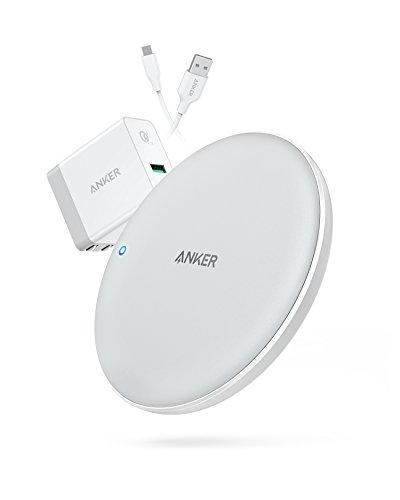Anker PowerWave 7.5 Pad. Caricabatterie Wireless Certificato Qi con Ventola di Raffreddamento Interna a Ricarica Veloce 7.5W e 10W, Caricabatterie Quick Charge 3.0 Incluso.